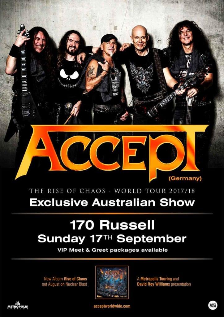 Accept Australian Tour JUNE 2017