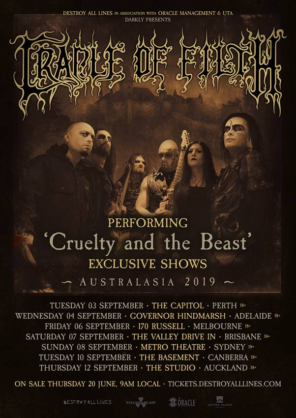 Cadle Of Filth Australian Tour Dates