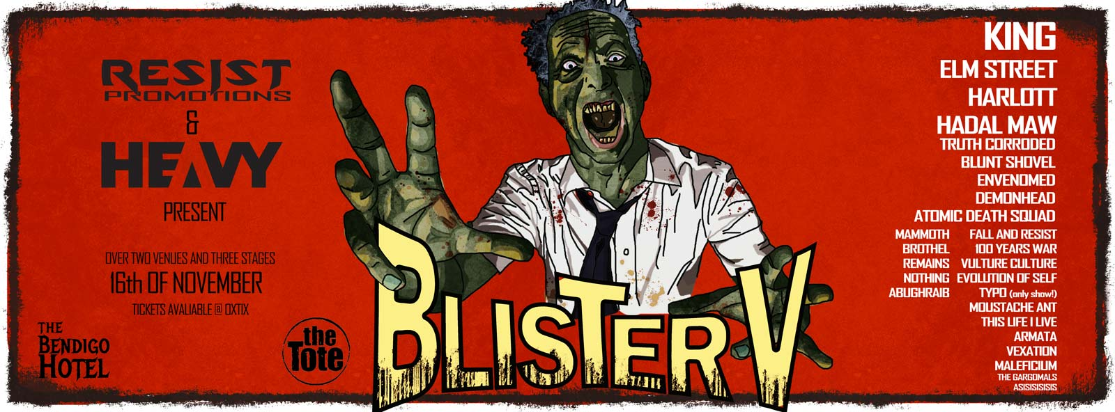 Blister Metal Festival poster with bands