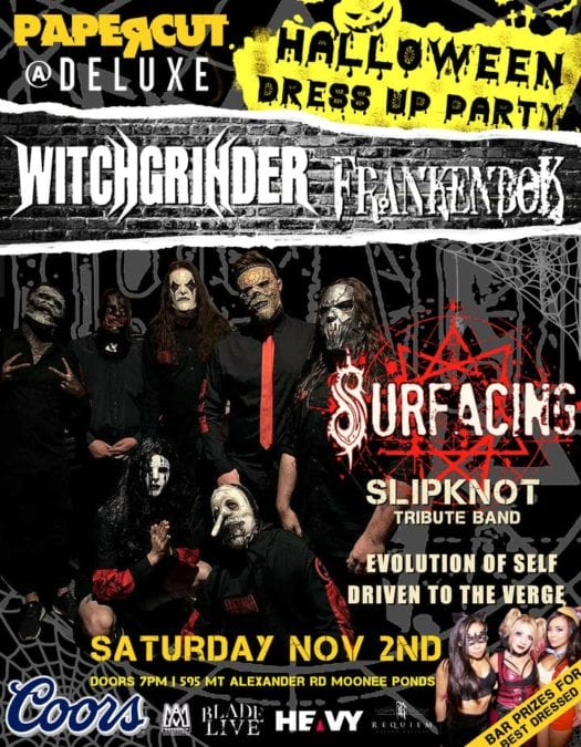 Melbourne's Very Metal HALLOWEEN PARTY Saturday 2nd Nov. at Deluxe Bar