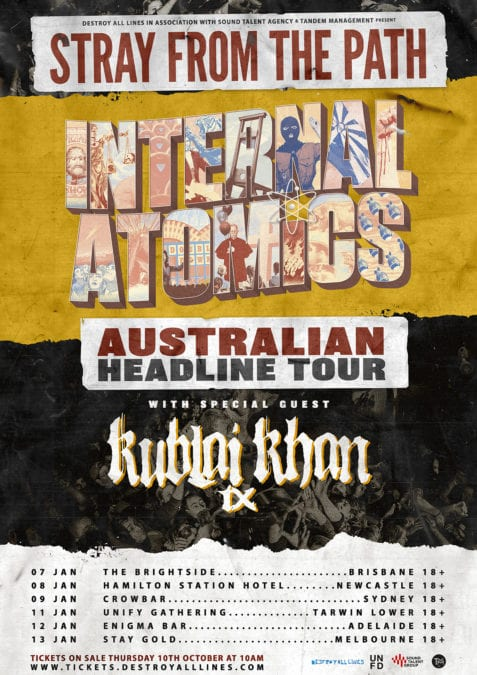 STRAY FROM THE PATH Announce Final Australian Headline Tour With Special Guests KUBLAI KHAN