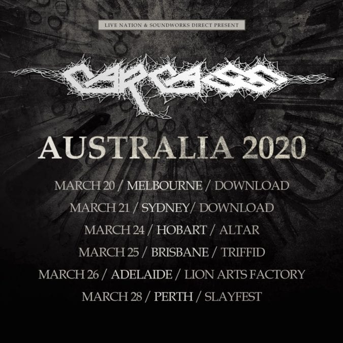 CARCASS Announce Australian Date on Top of the Download Shows